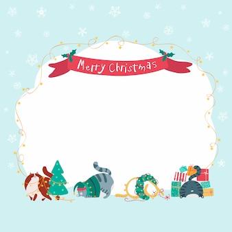 Рождественский баннер с забавными кошками. ручной обращается смешные персонажи.
