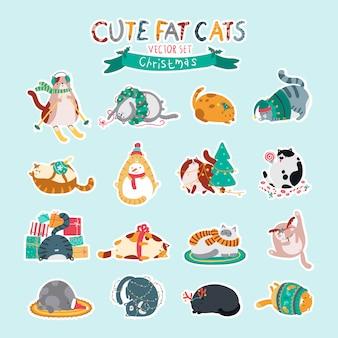 Набор забавных рождественских наклеек. симпатичные толстые кошки разных пород в разных позах. играем, веселимся, спим в новогоднем украшении.