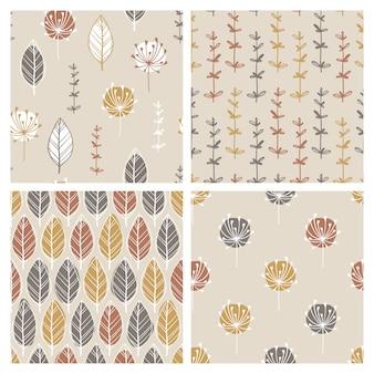 手描きの葉とハーブと北欧のシンプルなシームレスパターンのセットです。抽象的なスポットとシンプルな落書き線。パステル調のパレット。布、布、ラッパーに印刷するための背景