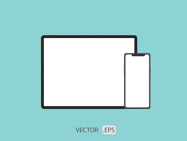 Телефон и вкладка векторный дизайн шаблона