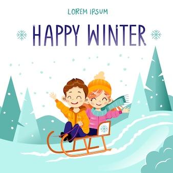 Счастливые дети на санках. маленькие дети с санями героев мультфильмов.