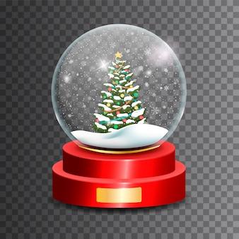 Рождественский снежный шар. стеклянный шар ..