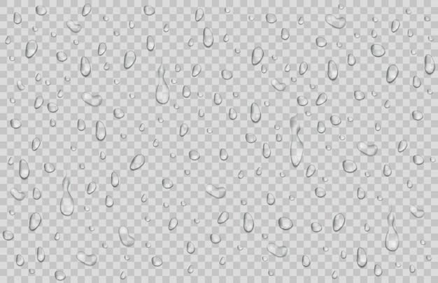 Капли воды, роса падает. капли дождя или душа, изолированные на прозрачной