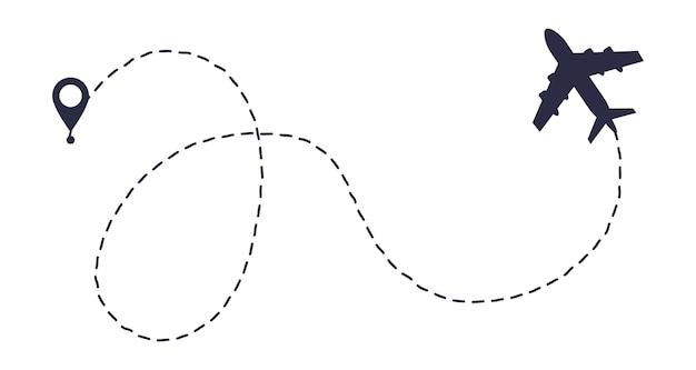 Самолет линии пути маршрута. начальная точка и пунктирная линия трассировки.