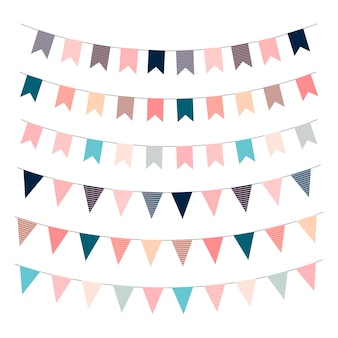 Гирлянда флаги. флаги для печати шаблонов. с днем рождения векторная иллюстрация