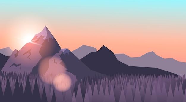 信じられないほどの山の風景の背景。大きな山は森に囲まれています。