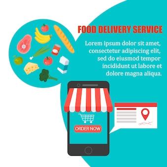 食べ物の注文、自宅での食料品の配達、スマートフォンアプリ