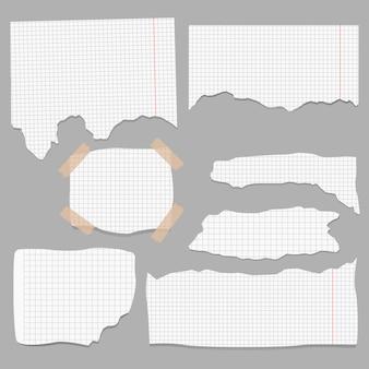 紙のさまざまな形のスクラップのセット。
