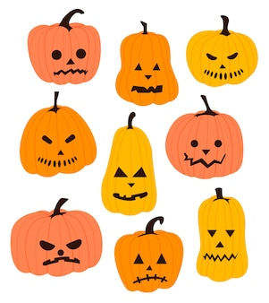 Комплект тыквы изолированный на белой предпосылке. символ праздника хэллоуин.