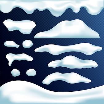 Векторный набор снежные шапки, сосульки, снежки и сугроб, изолированные на прозрачном фоне. зимние украшения. элементы игрового искусства. рождество, текстура снега, белые элементы.