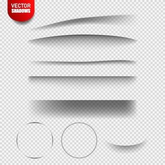 Векторные тени изолированы. векторные элементы дизайна разделительные линии набор эффектов тени. прозрачная тень реалистичная иллюстрация