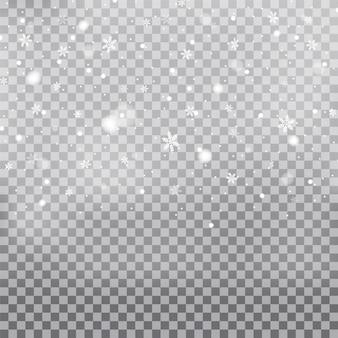Снегопад, снежинки разных форм и форм. снежинки, снег. рождественский снег на новый год. белый снег летит на прозрачном