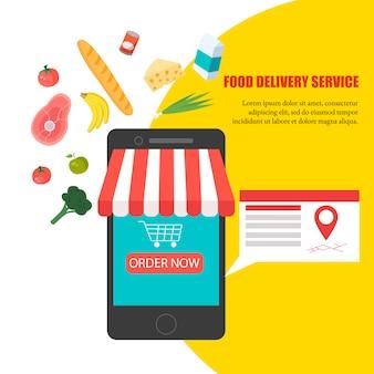 食べ物の注文、自宅での食料品の配達、スマートフォンアプリ:携帯電話のディスプレイに新鮮な野菜、食べ物、飲み物が入った買い物かごいっぱい