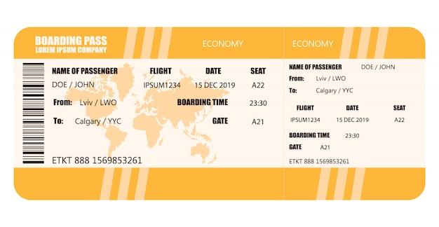 Векторная иллюстрация посадочного талона авиакомпании - векторного