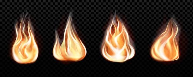 現実的な火の炎は透明な黒の背景に設定