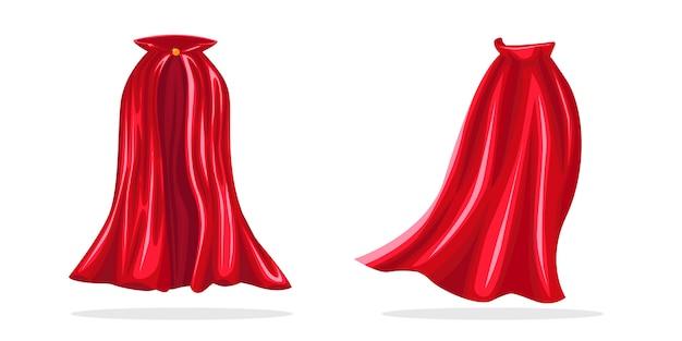 Красный герой мыса. реалистичная ткань, алый плащ или волшебная обложка вампира.