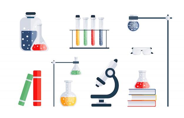 化学用のアイテムのセット。
