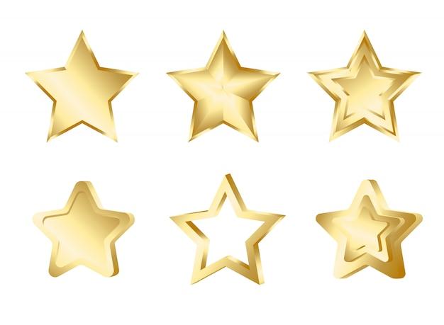 Набор золотых звезд на белом фоне.
