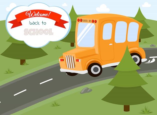Бумажное искусство школьного автобуса, выпрыгивающего из набросанной бумаги, обратно в школьную концепцию