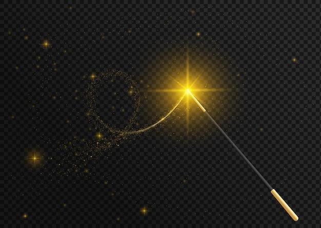 Волшебная палочка, изолированные на черном прозрачном фоне.