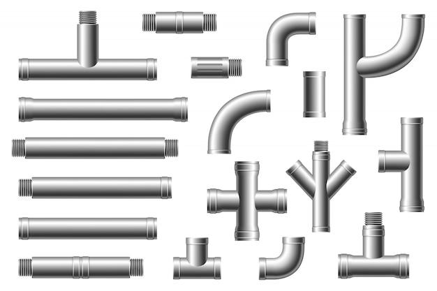 フランジおよびねじが付いているクロム管。水管のさまざまな種類のコレクション。産業用ガスバルブ