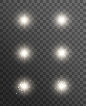 白熱灯の効果、フレア、爆発、星。透明に分離された特殊効果。