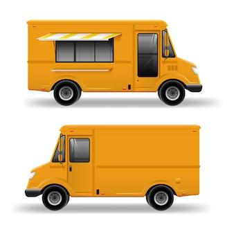 黄色のフードトラックブランドアイデンティティのモックアップ用の詳細テンプレート。白い背景に分離された現実的な配信サービスバン