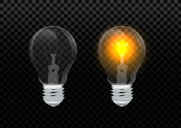 Реалистичная лампочка. светящиеся желтые и белые лампы накаливания, электричество и шаблон. лампочка на прозрачном фоне