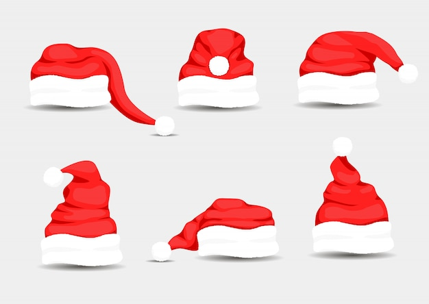 Рождество санта-клаус шапки с мехом набор. новогодняя красная шапка.