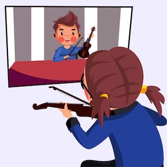 女の子は先生とオンラインバイオリンのクラスを持っています