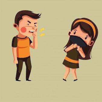 Мальчик кашляет, а женщина носит маску, старается избегать