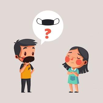 男の子はマスクを着用し、女の子にマスクを着用するように頼む