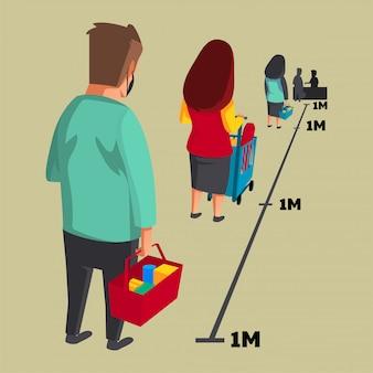人々は食料品の列に並ぶ間、社会的距離と身体的距離があります