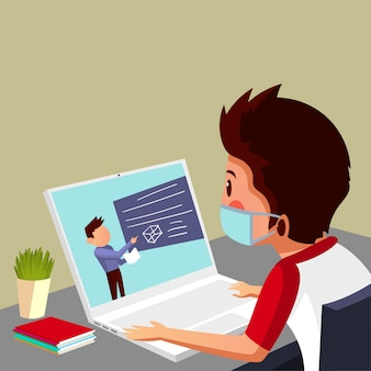 学生はオンラインクラスを持ち、自宅で勉強しています