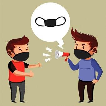 二人の男がマスク提案宣伝をしている