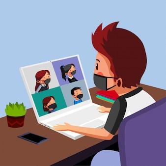 少年は彼の友人とのオンラインセッションを持っています