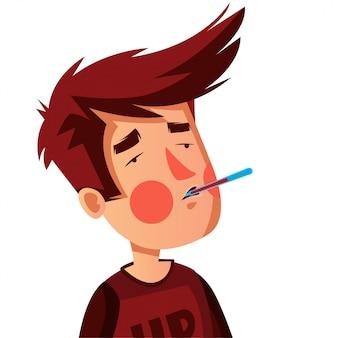 Молодой человек проверяет его температуру для ранней проверки на наличие симптомов