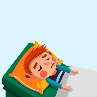 Мальчик лихорадит и его иллюстрация проверки температуры