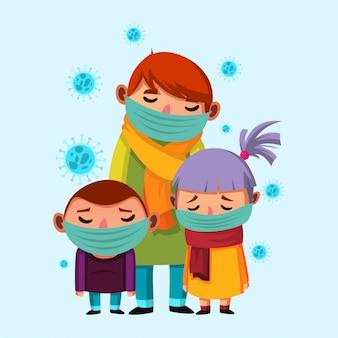 息子とマスクを身に着けている娘を持つ父親は、インフルエンザのイラストを取得します