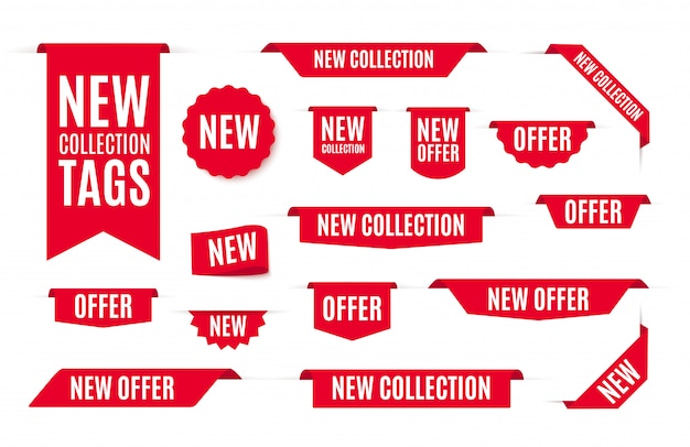 Новая коллекция предложение теги и этикетки.