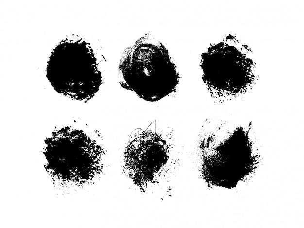 グランジの丸い形。芸術的なインク汚れ。図