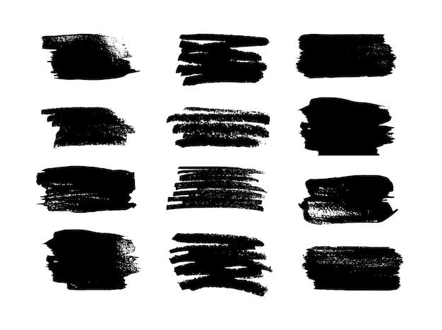 黒の汚れたストローク、インク。グランジ要素