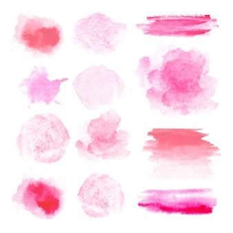 水彩ブラシ。設計のための多くの異なる赤とピンクのブラシストロークテクスチャのセット。白い背景の上のスポット。円形、長方形、ストリップ。