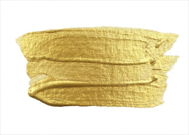 明るい背景にブラシで金のペイントストロークで描画されます。手作り。