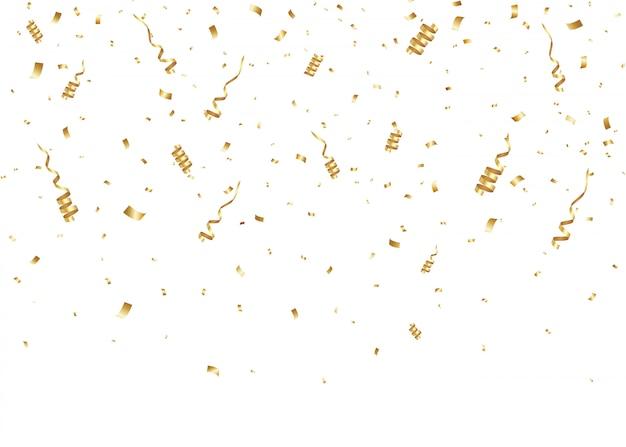 勝者のための落下の金色の紙吹雪。キラキラ粒子。お祝いの背景