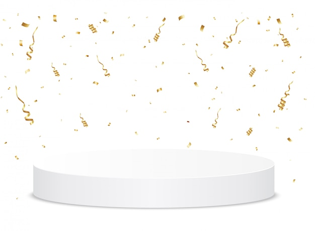 金の紙吹雪が表彰台に落ちる。授賞式のコンセプト