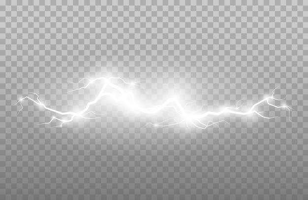 Сильные электрические молнии. гром болт изолированных иллюстрация