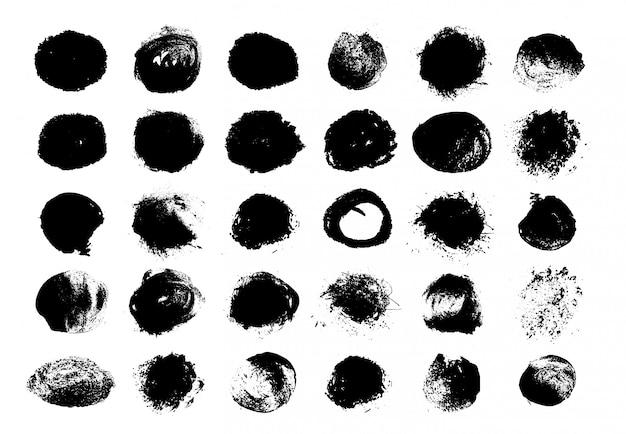 黒丸グランジペイント。サークル染色テクスチャ。装飾要素