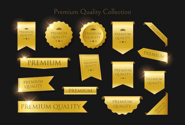 豪華なゴールデンラベル、ステッカー、プレミアム品質コレクションのバッジのセット。黒の背景に孤立した図