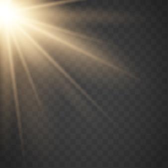 Золотое солнце с лучами и лучами. вектор теплый световой эффект